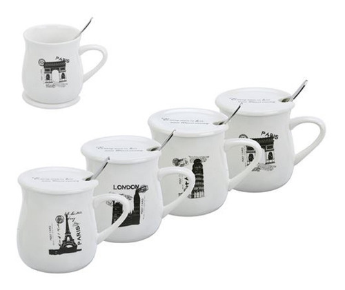 mug con tapa y cucharita 4 diseños city  en caja individual