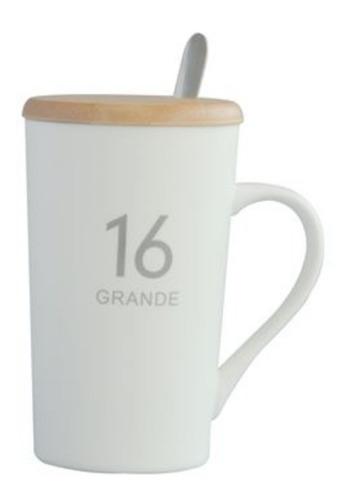 mug de porcelana grande 16 tapa bamboo y cuchara acero