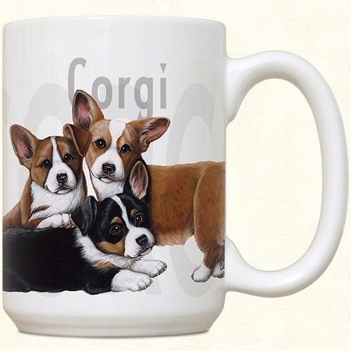 mug porcelana perro corgi y toalla de cocina