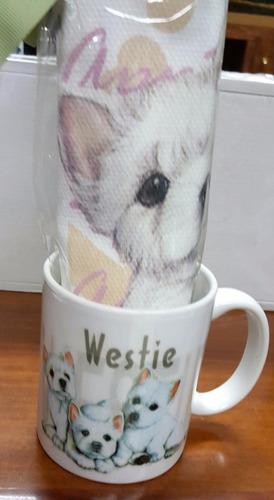 mug porcelana perro westie y toalla de cocina