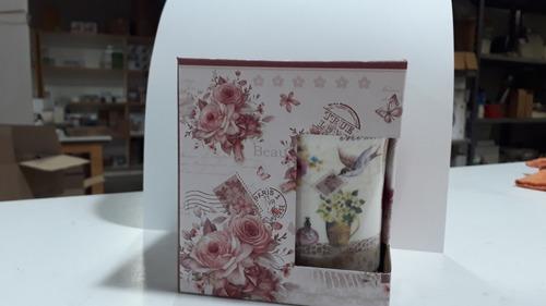 mug taza ceramica con tapa diseño flores