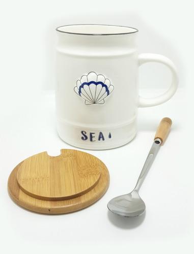 mug taza pocillo concha de mar cerámica tapa y cuchara