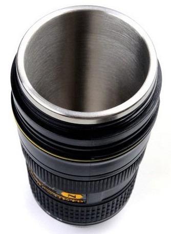 mugs termo vaso con forma de lente nikon 24-70mm con zoom