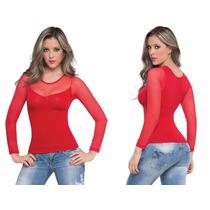 Blusa Control De Abdomen Y Cintura Con Velo Cuello Redondo