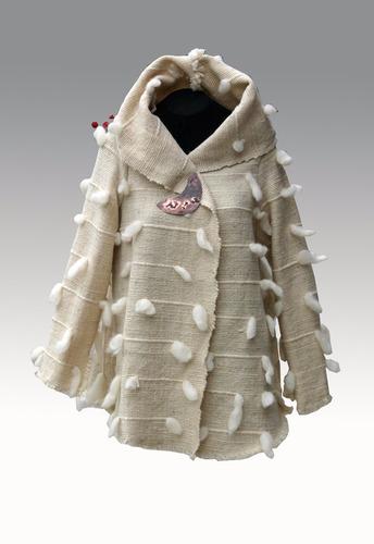 mujer abrigo telar lana oveja colorvegetal