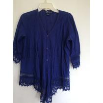 Blusa Macrame Azul Talla M