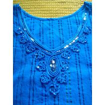 Blusa Azul Con Aplicacion De Lentejuelas Talla S
