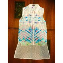 Blusa Blanca Estampada Con Espalda Transparente. Talla Xs/6