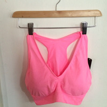 Top Corto Colores De Neón Coral Fucsia Playa Gym Talla L