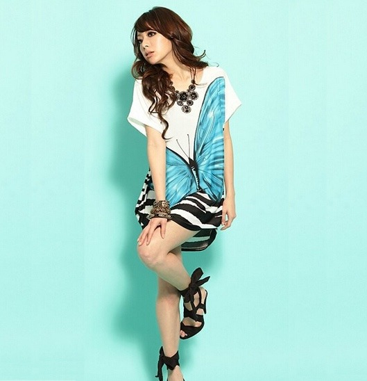 f10ac1c953 ... día moda casual temporada mariposa juvenil · vestido mujer casual · mujer  casual vestido