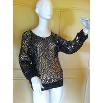 Exclusivo Espectacular Poleron Crochet Con Lentejuelas M