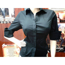 Blusa De Dama Tipo Camisa De Vestil Manga 3/4 Solo Negra