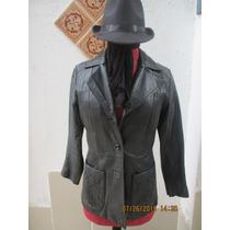 Chaqueta De Cuero Color Negro De Mujer Talla 42