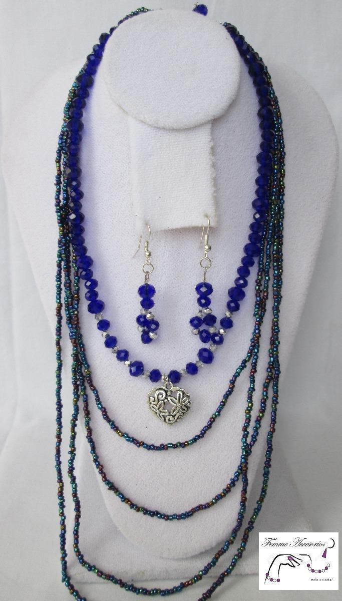 d659c2d8f180 mujer collares joyería bisutería collar chaquira azul c123. Cargando zoom.