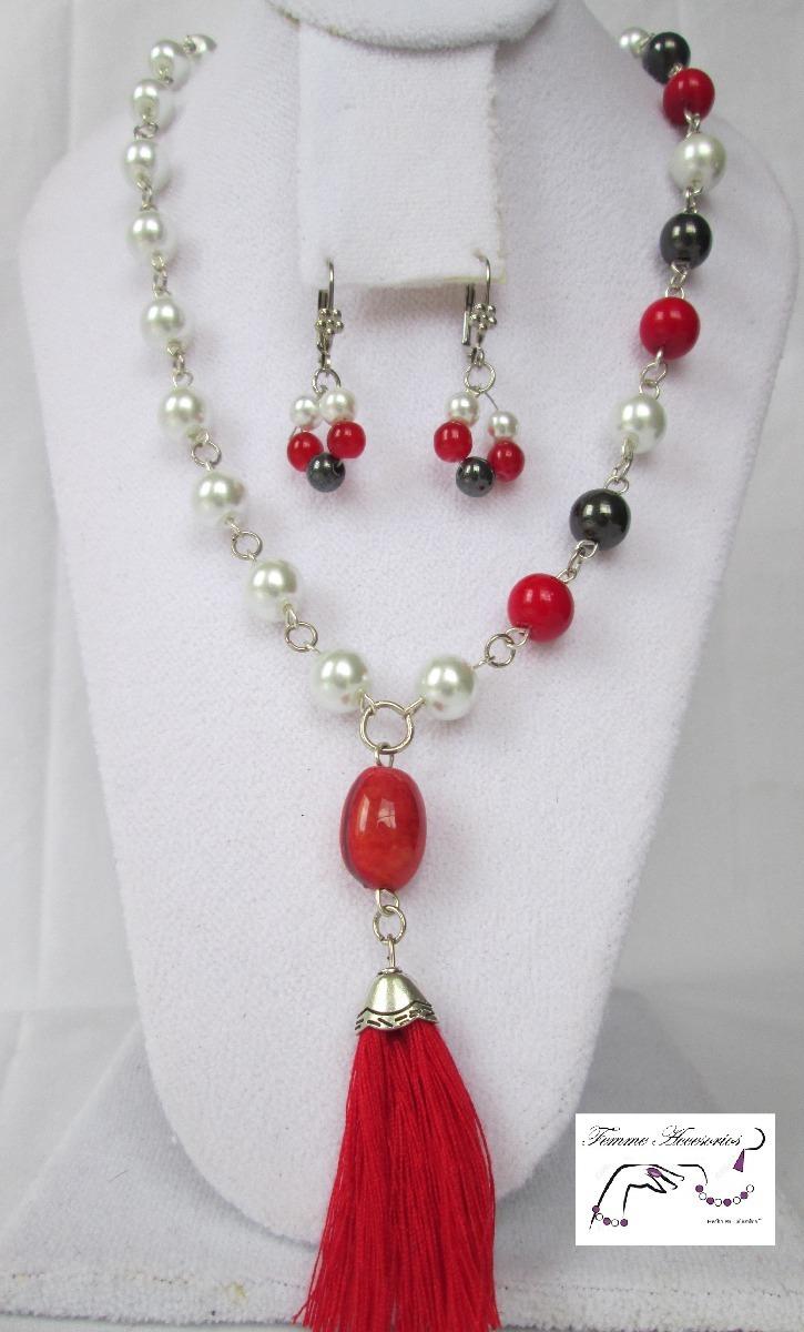 53d268a695bd Mujer Collares Joyería Bisutería Collar Perla Roja C-090 -   37.000 ...