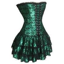 Vestido Corset Modlo Cross Verde Talla 2xl