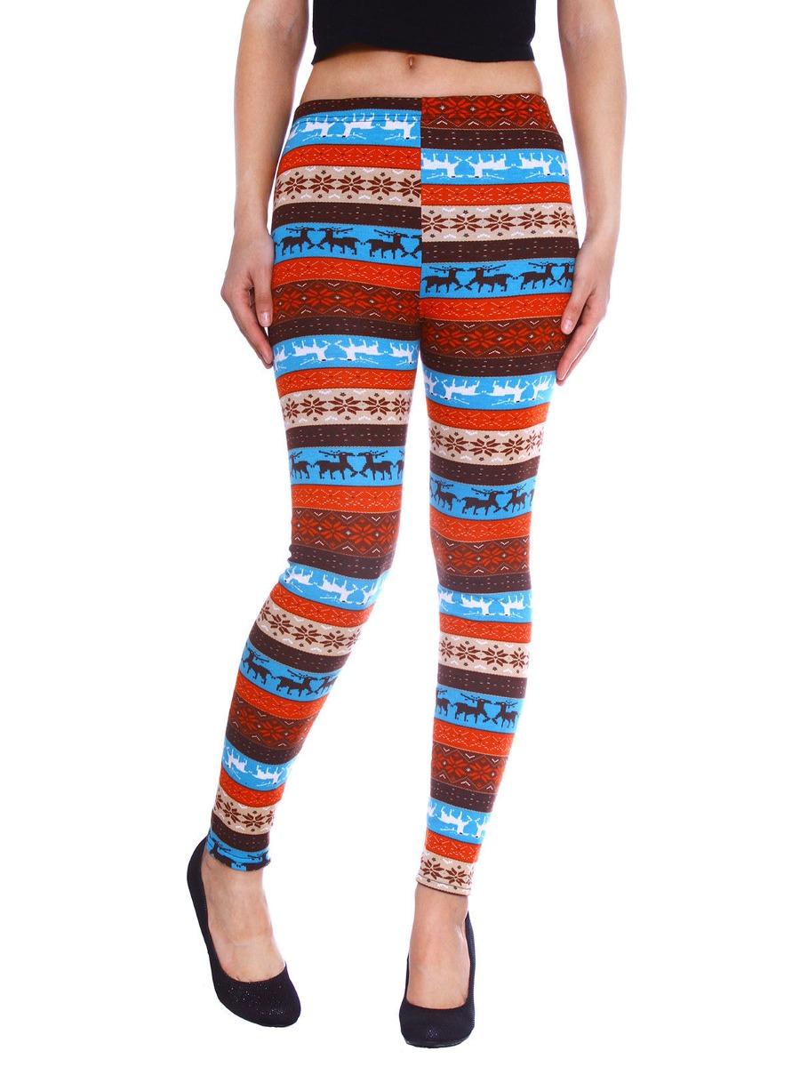 Mujer De Punto Moda Leggings Con Renos Y Pantalón De Rayas ...