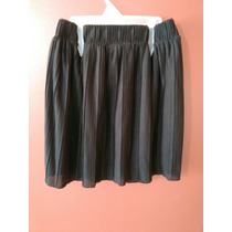 Falda Alta Negra Plisada De Zara