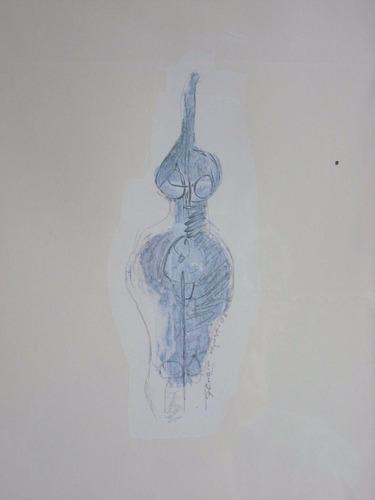 mujer i i. acrílico y grafito/papel. firmado a mano