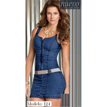 Hermoso Vestido De Jean Corto 100% Colombianos Originales