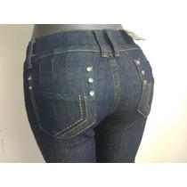 Bello Pantalon Dama Jeans Negro Marca Gusto Talla 10 (30)