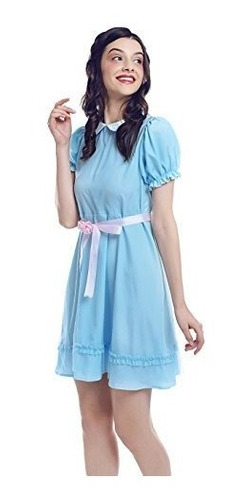 mujer lolita vestido azul dulce algodón faldas soplo arco
