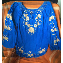 Blusa Azul Bordada Talla M Totalmente Nueva!