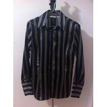 Camisa Zara Negra Con Blanco Manga Larga Para Damas Talla S