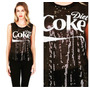 Blusa Camiseta Lentejuelas Coca Cola - Coke Moda Americana