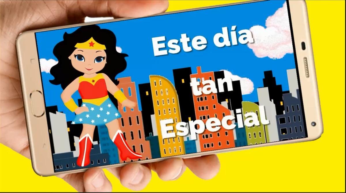 Mujer Maravilla Video Tarjeta Invitación Cumpleaños Whatsapp