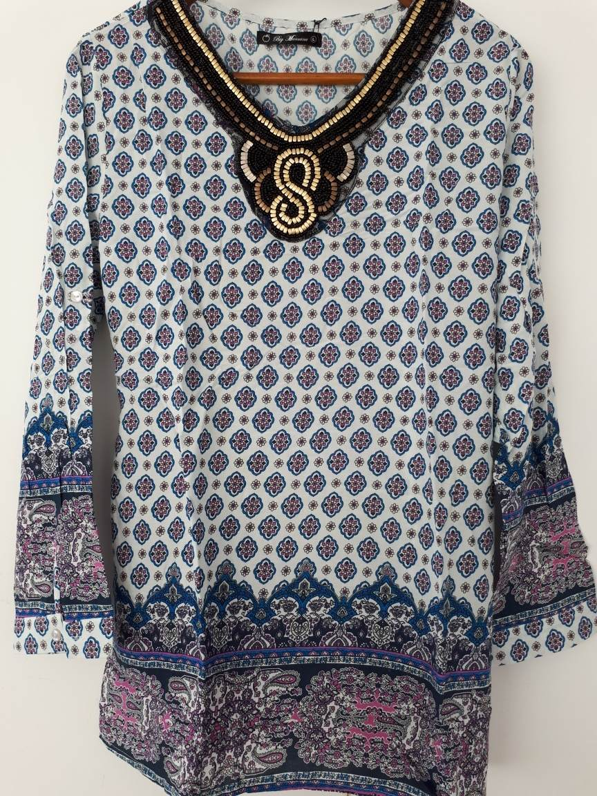Camisola Blusa Mujer Hippie Boho Escote Bordado Mujer -   780 79a34c75394