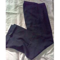 Elegante Y Ejecutivo Pantalón Negro De Fina Gabardina