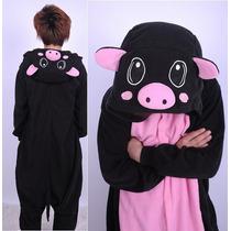 Pijama Chancho Negro Kigurumi Kawaii Polar Para Adultos