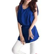 Blusa Chiffon Azul Talla M