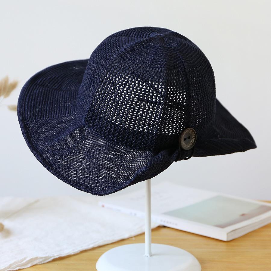 Mujer Plegable Algodón Y Lino Sol Playa Cuenca Sombrero De V