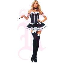 Medias Para Disfraces Halloween Negra Moño Blanco Cosplay