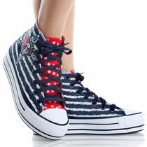 Zapato Plataforma Import Azul/blanco Talla 35