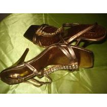 Sandalias De Dama Color Bronce Y Strass