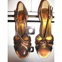 Elegantes Sandalias Cuero Bronce-dorado Nine West # 37.5