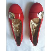 Sandalias Color Roja Talla 37 Hechas En Brasil. Nuevas A1