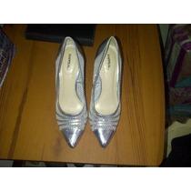 Bellos Zapatos De Fiesta Plateados. Importados.no.36
