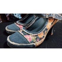 Zapatos De Tacón (tacones) Cubierta De Tela Jean