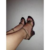Sandalias Con Tacon Y Suela De Madera , Color Bronce