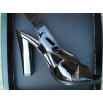 Elegantes Sandalias De Tacon Importadas - Patente Negro