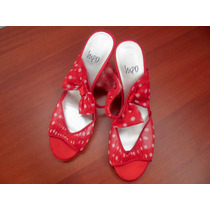 Sandalias Para Damas, Rojas Con Lunares Blancos - Nuevas