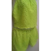Conjunto Playero Top Y Short En Malla Verde Neon Forrado