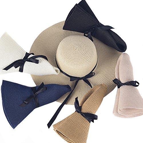 Itopfox Sombrero De Ala Grande Para Mujer Sombrero De Paj ... bf4325b0970