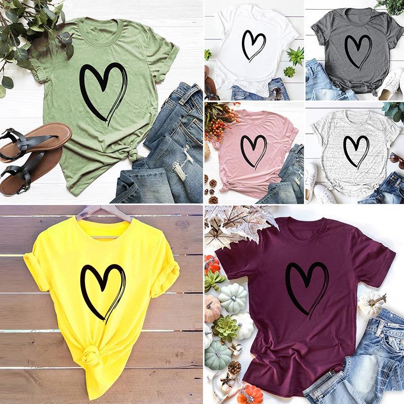 Mujer Tallas Grandes Camiseta Corazon Amor Estampado Algodon 312 16 En Mercado Libre