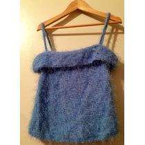 Ofertablusa De Moda Textil Importado Hilado Y Flecos Celeste