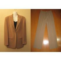 Traje De Mujer / Chaqueta Y Pantalón Color Beige Oscuro T.42